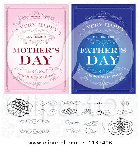 Clipart of Blue and Pink Happy Mothers and Fathers Day Invites with Swirls and Design Elements over a Floral Pattern - Royalty Free Vector Illustration by BestVector