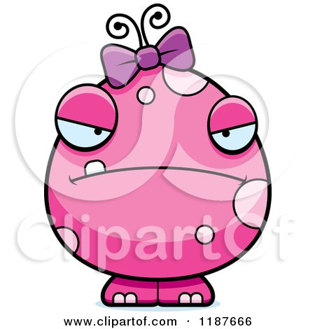 Cartoon of a Mad Pink Female Monster - Royalty Free Vector Clipart by Cory Thoman