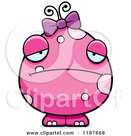 Cartoon of a Depressed Pink Female Monster - Royalty Free Vector Clipart by Cory Thoman