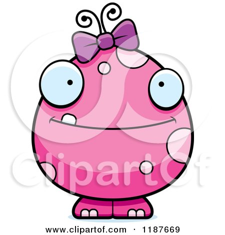 Cartoon of a Happy Pink Female Monster - Royalty Free Vector Clipart by Cory Thoman