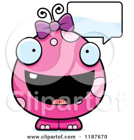 Cartoon of a Talking Pink Female Monster - Royalty Free Vector Clipart by Cory Thoman