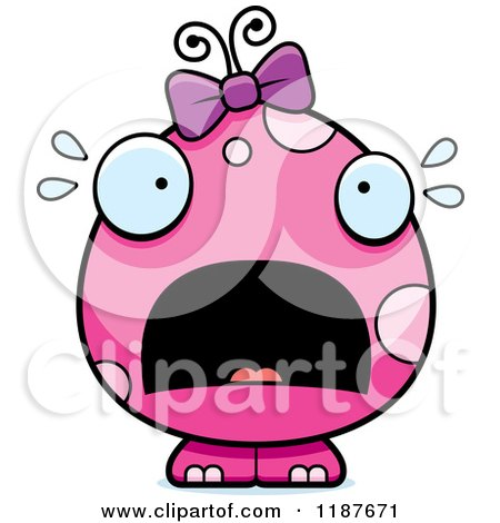 Cartoon of a Scared Pink Female Monster - Royalty Free Vector Clipart by Cory Thoman