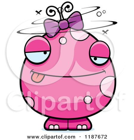 Cartoon of a Drunk Pink Female Monster - Royalty Free Vector Clipart by Cory Thoman