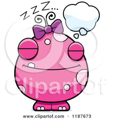 Cartoon of a Dreaming Pink Female Monster - Royalty Free Vector Clipart by Cory Thoman