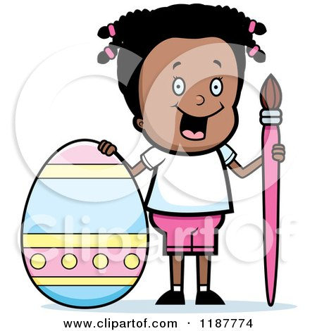 Cartoon of a Happy Black Girl with a Brush and Easter Egg - Royalty Free Vector Clipart by Cory Thoman