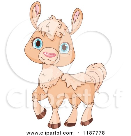 Cartoon of a Cute Beige Llama with Blue Eyes - Royalty Free Vector Clipart by Pushkin