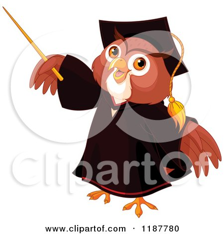 Cartoon of a Wise Professor Owl Holding up a Pointer Stick - Royalty Free Vector Clipart by Pushkin