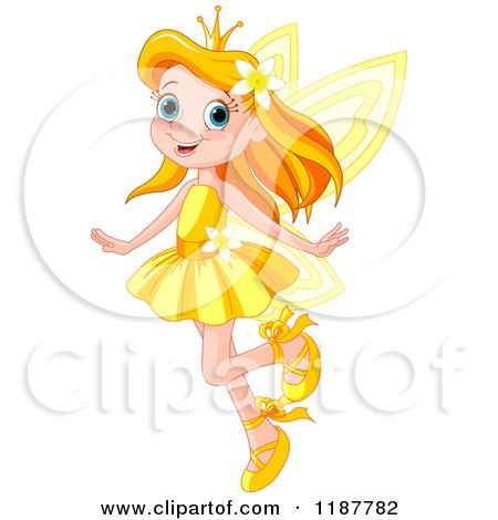 Happy Red Haired Fairy Princess Girl in a Yellow Dress Posters, Art Prints