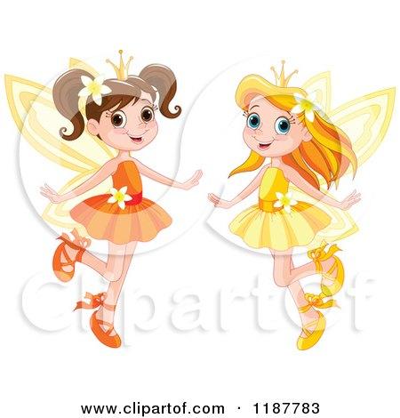 Cartoon of Happy Fairy Princess Girls - Royalty Free Vector Clipart by Pushkin