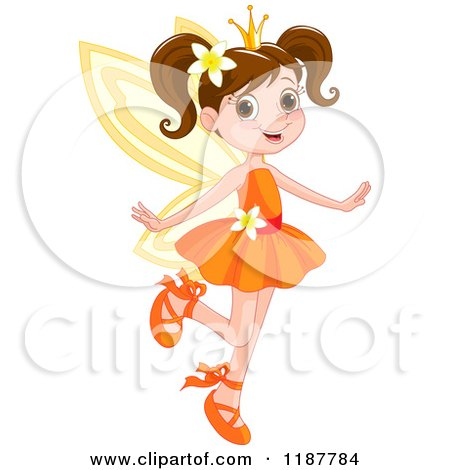 Cartoon of a Happy Brunette Fairy Princess Girl in an Orange Dress - Royalty Free Vector Clipart by Pushkin