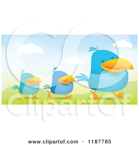 Cartoon of Blue Social Media Birds Walking in Line in a Hilly Landscape - Royalty Free Vector Clipart by Qiun