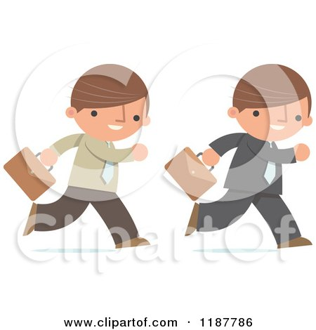 Cartoon of a Businessman Shown in Two Different Outfits, Running with with Briefcases - Royalty Free Vector Clipart by Qiun