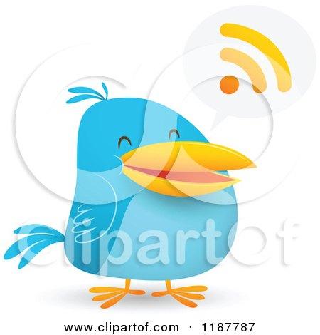 Cartoon of a Blue Social Media Bird with an RSS Speech Balloon - Royalty Free Vector Clipart by Qiun