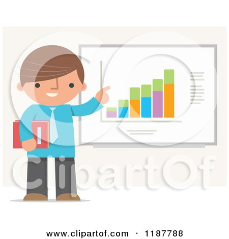 Cartoon of a Businessman Pointing to and Discussing a Chart - Royalty Free Vector Clipart by Qiun