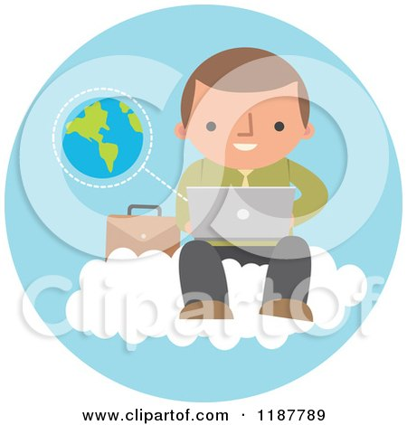Cartoon of a Businessman Using a Laptop Computer on a Cloud over a Blue Circle with Earth - Royalty Free Vector Clipart by Qiun