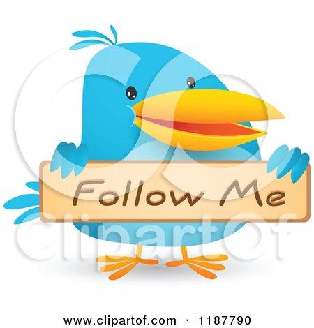 Cartoon of a Blue Social Media Bird Holding a Follow Me Sign - Royalty Free Vector Clipart by Qiun
