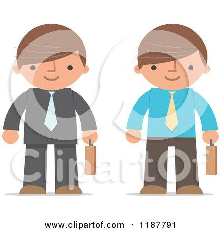 Cartoon of a Businessman Shown in Two Different Outfits, with Briefcases - Royalty Free Vector Clipart by Qiun