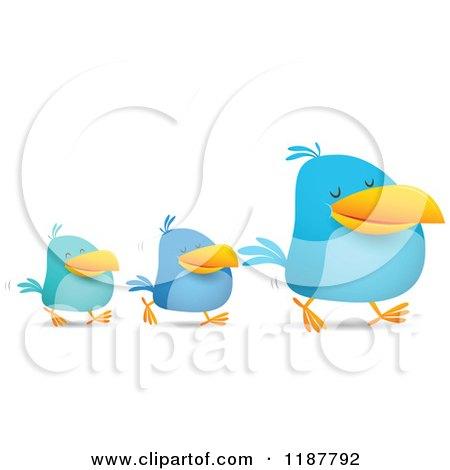 Blue Social Media Birds Walking in Line Posters, Art Prints