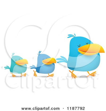 Cartoon of Blue Social Media Birds Walking in Line - Royalty Free Vector Clipart by Qiun