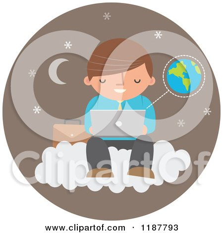 Cartoon of a Businessman Using a Laptop Computer on a Cloud over a Brown Moon and Star Circle with Earth - Royalty Free Vector Clipart by Qiun