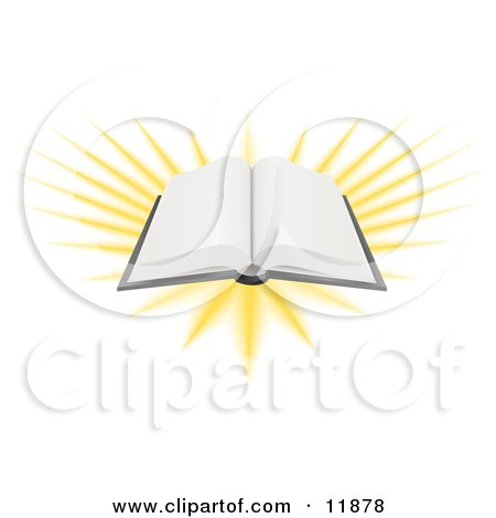 Open Book With Blank Pages and Bright Light Clipart Picture by AtStockIllustration
