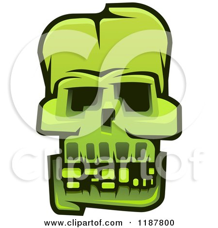 Clipart of a Green Monster Skull - Royalty Free Vector Illustration by Vector Tradition SM