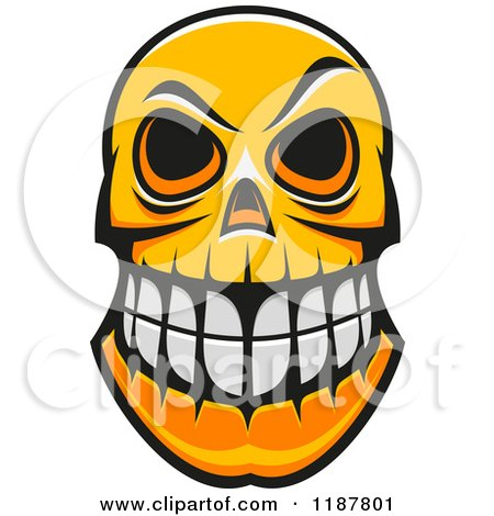 Clipart of an Orange Grinning Monster Skull - Royalty Free Vector Illustration by Vector Tradition SM
