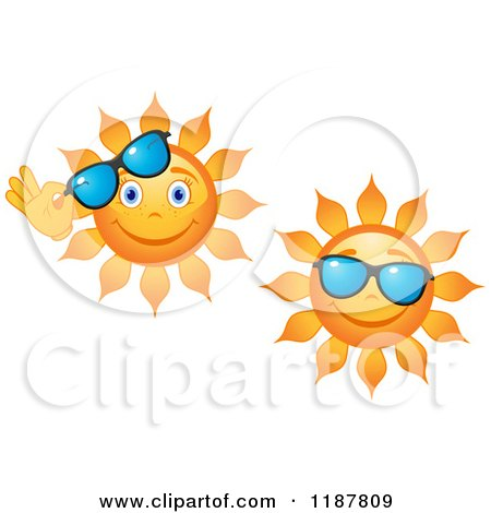 Clipart of Smiling Summer Suns with Shades - Royalty Free Vector Illustration by Vector Tradition SM