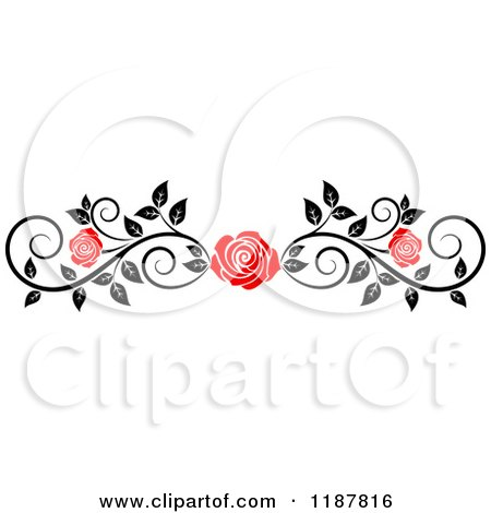 Clipart of a Red Rose and Black and White Foliage Border Page Rule 4 - Royalty Free Vector Illustration by Vector Tradition SM