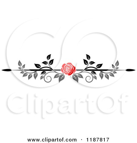 Clipart of a Red Rose and Black and White Foliage Border Page Rule 2 - Royalty Free Vector Illustration by Vector Tradition SM