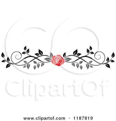 Clipart of a Red Rose and Black and White Foliage Border Page Rule 3 - Royalty Free Vector Illustration by Vector Tradition SM