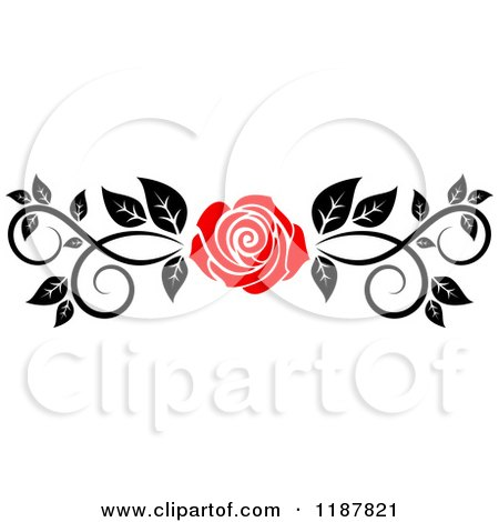 Clipart of a Red Rose and Black and White Foliage Border Page Rule - Royalty Free Vector Illustration by Vector Tradition SM