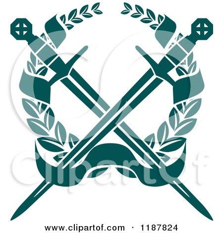 Clipart of a Heraldic Teal Laurel Wreath Crowssed Swords ...