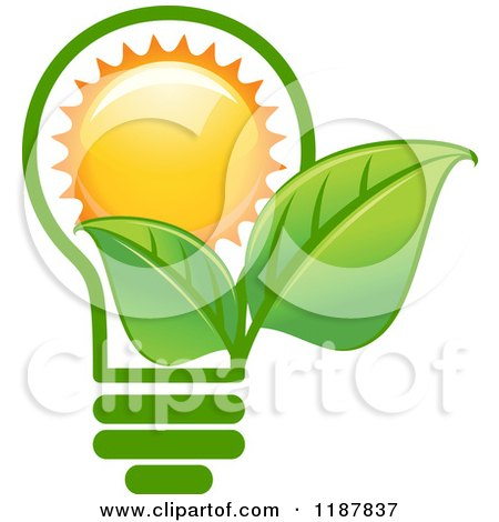 Clipart of a Green Leaf Lightbulb with a Sun - Royalty Free Vector Illustration by Vector Tradition SM