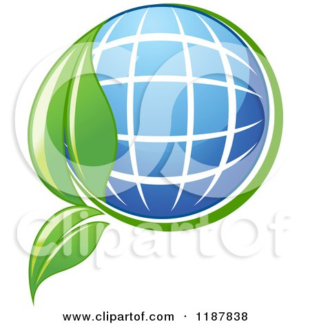 Clipart of a Solar Panel Globe and Green Leaf - Royalty Free Vector Illustration by Vector Tradition SM