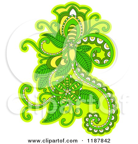 Clipart of a Green Floral Design Element - Royalty Free Vector Illustration by Vector Tradition SM