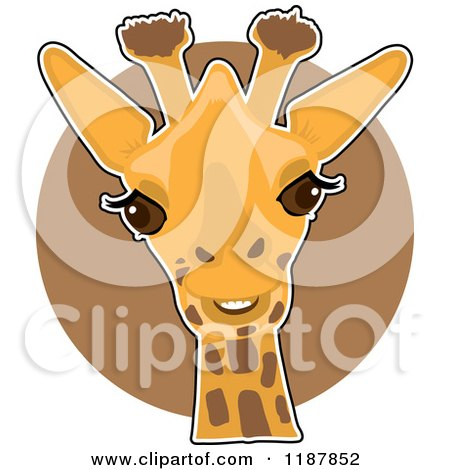 Cartoon of a Cute Happy Giraffe Head over a Brown Circle - Royalty Free Vector Clipart by Maria Bell
