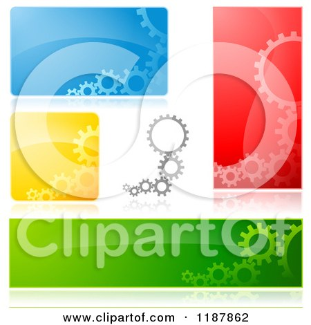 Clipart of Gears and Reflections on Colorful Backgrounds Design Elements - Royalty Free Vector Illustration by dero
