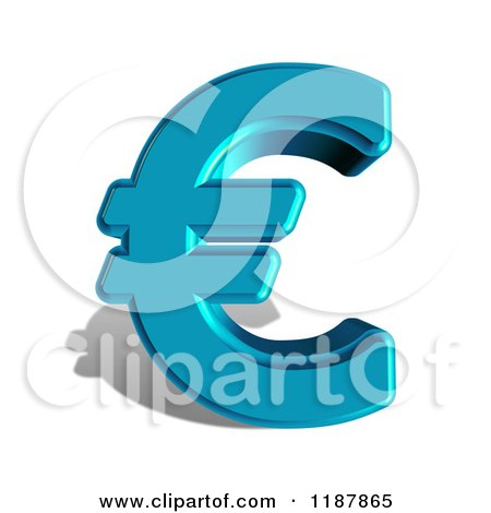 Clipart of a 3d Blue Euro Symbol and Shadow on White - Royalty Free CGI Illustration by MacX