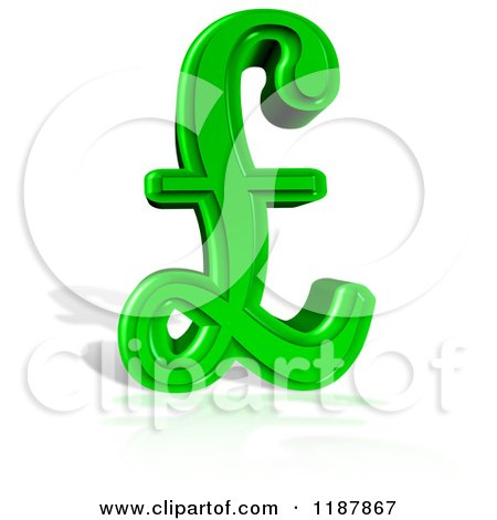 Clipart Of A 3d Green Lira Pound Symbol And Shadow On White