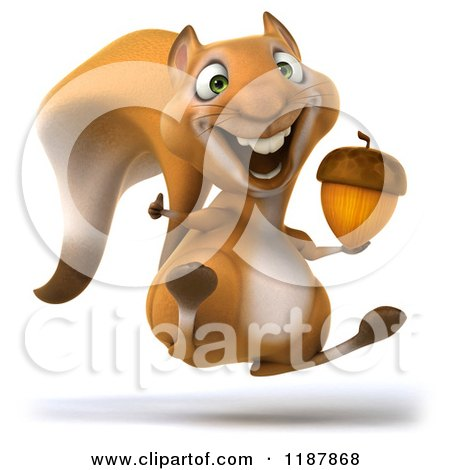Clipart of a 3d Happy Squirrel Jumping with an Acorn - Royalty Free CGI Illustration by Julos