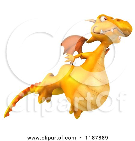 Clipart of a 3d Happy Yellow Dragon Flying - Royalty Free CGI Illustration by Julos