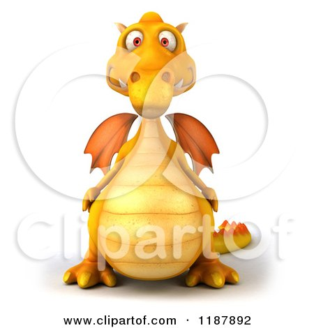 Clipart of a 3d Yellow Dragon - Royalty Free CGI Illustration by Julos