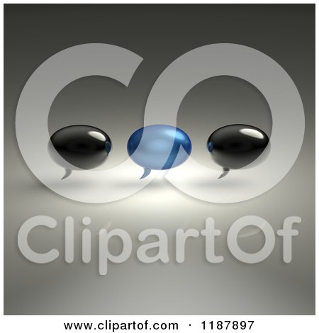 Clipart of 3d Black and Blue Glass Chat Balloons over Gray - Royalty Free CGI Illustration by Julos