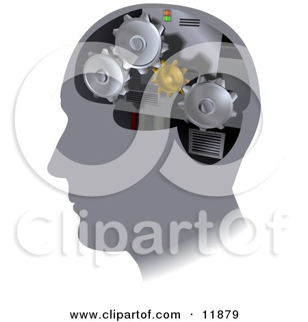 Turning Cogs Inside a Human Head Clipart Illustration by AtStockIllustration