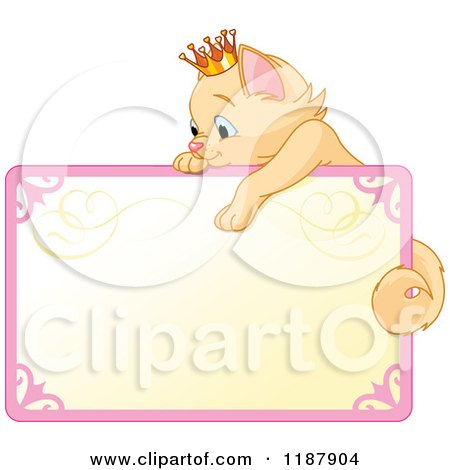 Cartoon of a Cute Beige Princess Kitten Hanging over a Sign - Royalty Free Vector Clipart by Pushkin