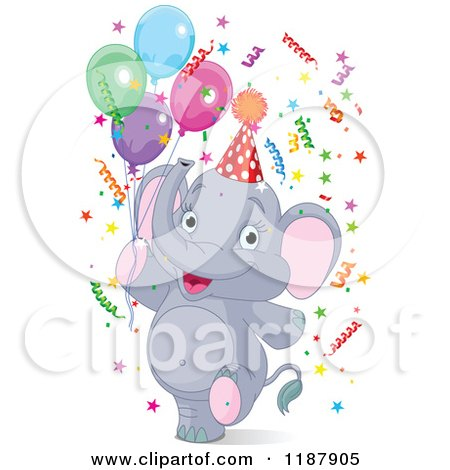 Cartoon Of A Cute Baby Elephant Looking Up Royalty Free