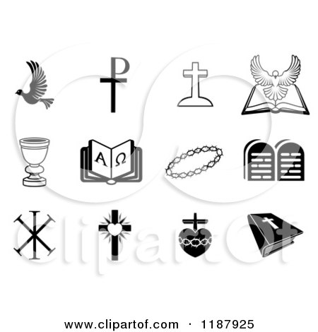 Clipart of White Christian Icons on Square Colorful Pastel Tiles ...