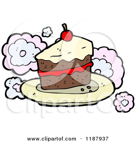 Cartoon of a Piece of Cake - Royalty Free Vector Illustration by lineartestpilot
