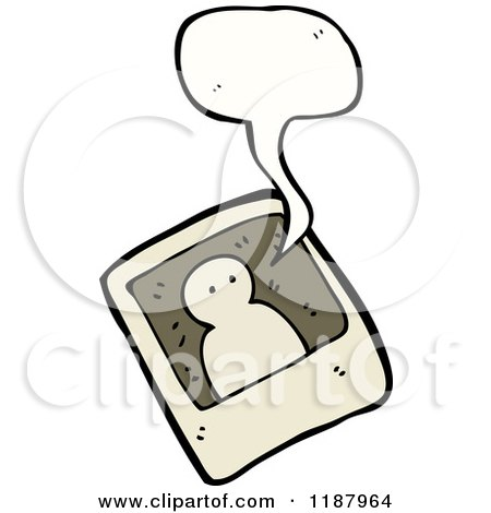 Cartoon of a Black and White Photo of a Ghost Speaking - Royalty Free Vector Illustration by lineartestpilot